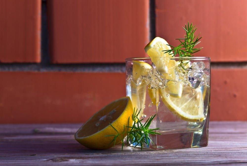 Gin i glas med citron og is